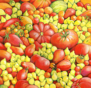 Cornucopia Painting Metal Prints - Love Apples ... Heirloom Tomatoes Metal Print by Susan A Walton