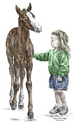 Pony Drawings - Love at First Sight - Girl and Horse Print color tinted by Kelli Swan