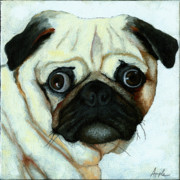 Linda Apple Painting Metal Prints - Love at First Sight - Pug Metal Print by Linda Apple