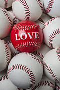 Stitching Prints - Love baseball Print by Garry Gay