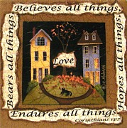 Primitive Painting Framed Prints - Love Bears All Things... Framed Print by Catherine Holman