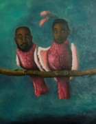 Afro-american Paintings - Love Birds by Leah Saulnier The Painting Maniac