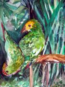 Zoo Drawings Prints - Love Birds Print by Mindy Newman
