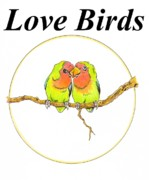 Lovebird Drawings Prints - Love Birds Print by Richard Brooks