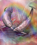 Dolphin Art Print Posters - Love Bubbles Poster by Carol Cavalaris