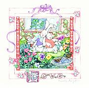 Shower Gift Posters - Love Bunnies Poster by Debbie Kingston Baker