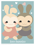Misfits Posters - Love Bunnies Poster by Natasha Wescoat