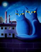 Cats Pastels Prints - Love by The Pale Moonlight Print by Chris Mackie