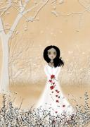 White Dress Digital Art Posters - Love Can Touch Us One Time Poster by Charlene Zatloukal