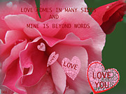 Hearts Devotion Prints - Love Comes Incard Many Sizes Card Print by Debra     Vatalaro
