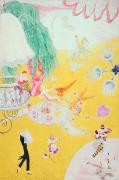 Colourful Paintings - Love Flight of a Pink Candy Heart by  Florine Stettheimer