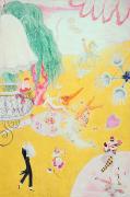 Love Flight Of A Pink Candy Heart Print by  Florine Stettheimer
