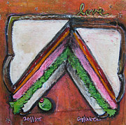 Sandwich Painting Posters - Love for Ham Sandwich Poster by Laurie Maves