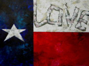 Patriotic Painting Prints - Love For Texas Print by Patti Schermerhorn