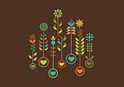 Pattern Metal Prints - Love Garden Metal Print by Budi Satria Kwan