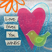 Bird Mixed Media Metal Prints - Love Gives You Wings Metal Print by Linda Woods