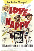 Showgirl Photo Prints - Love Happy, From Top Left Harpo Marx Print by Everett