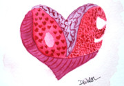 Watercolor Prints - Love Heart Print by Donna Walsh