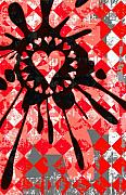 Decorative Abstract Digital Art Prints - Love Heart Splatter Print by Roseanne Jones