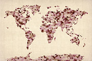 Pink Art - Love Hearts Map of the World Map by Michael Tompsett