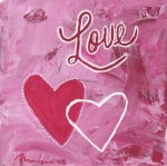 Word Paintings - Love Hearts by Monique Morales