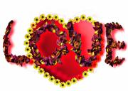 Love Letter Mixed Media Prints - Love Heat and Rose Petals Print by Simon  Kitcher