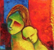 Abstract Mother And Child Paintings - Love ii by Sagarika Sen