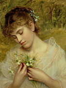 Contemplative Painting Prints - Love in a Mist Print by Sophie Anderson