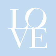Type Posters - Love in Baby Blue Poster by Michael Tompsett
