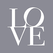 Typography Posters - Love in Grey Poster by Michael Tompsett
