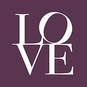 Typography Prints - Love in Mullbery Plum Print by Michael Tompsett