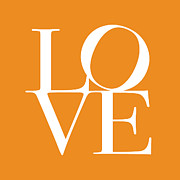 Text Posters - Love in Orange Poster by Michael Tompsett
