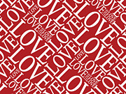 Text Posters - Love in Red Poster by Michael Tompsett