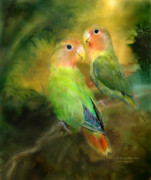 Tropical Bird Art Print Posters - Love In The Golden Mist Poster by Carol Cavalaris