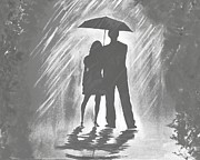 Embracing Painting Posters - Love In The Rain B Poster by Leslie Allen