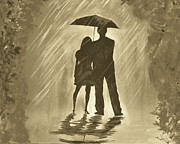 Embracing Painting Posters - Love In The Rain C Poster by Leslie Allen