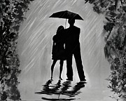 Embracing Painting Posters - Love in the Rain Series A Poster by Leslie Allen