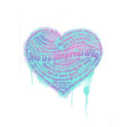 Heart Mixed Media Prints - Love is a Drug Print by Simon Sturge