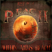 Label Framed Prints - Love is a Peach Framed Print by Joel Payne
