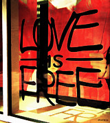 Window Signs Art - Love is Free by Cheryl Young