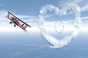 Bi Plane Prints - Love is in the Air Print by Carol and Mike Werner