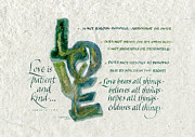 Scripture Prints - Love is  Print by Judy Dodds