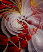 Abstract Digital Pastels Prints - Love is Like a Fire Print by Gayle Odsather