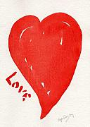 Valentines Day Drawings Framed Prints - Love Is.... Framed Print by Roger Cummiskey