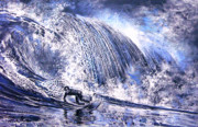 Water Sports Art Paintings - Love is The Seventh Wave by Miki De Goodaboom