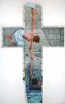 Cross Painting Prints - Love Print by Larry Cole