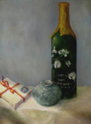 Champagne Paintings - Love Letters and Champagne  copyrighted by Kathleen Hoekstra