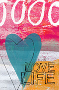 Heart Mixed Media Prints - Love Life Print by Linda Woods