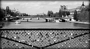 Black And White Paris Metal Prints - Love Locks over the Seine Metal Print by Carol Groenen