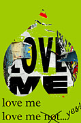 Anahi Decanio Mixed Media - Love Me Graffiti Heart by Anahi DeCanio